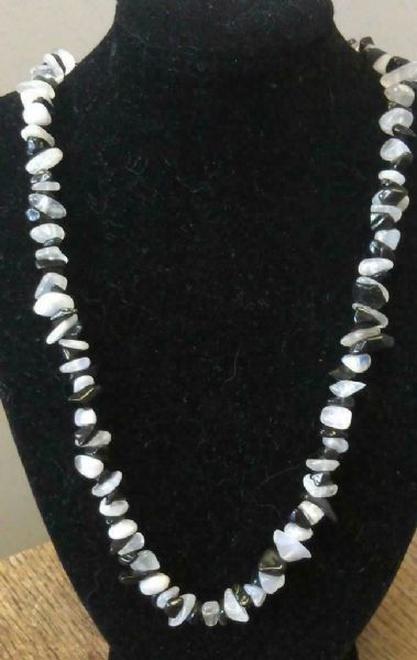 "Moonstone & Black Obsidian Chip Necklace 16"" to 34"", Long Necklace, Short"